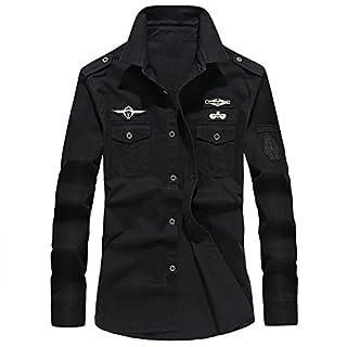 Anglewolf 2018 Men's Fashion Autumn Casual Long Sleeve Military Cargo Slim Button Dress Shirt Top Mens Windbreaker Jacket Cotton Combat Lightweight Coat Men Jackets Winter Blouse(Black,3XL)