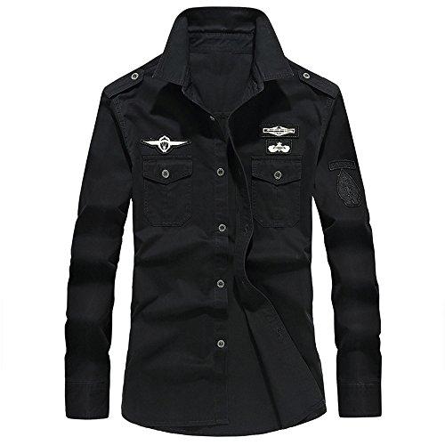 ALIKEEY Men 'S Retro Tooling Solapa Cotton Casual Camisa De Manga Larga para Hombres Otoño Carga Militar Botón Top Blusa Vestido De Slim