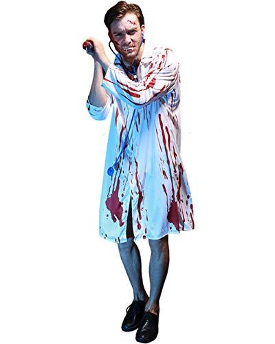 BESTHOO Halloween-Kleid Halloween Rollenspiel Halloween-Partei Halloween-Maskerade-Partyklage mit männlicher Bluthorror-Doktorklage mit Stethoskop