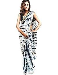 Colour Trendz Sibori Moss Silk Print Saree (Colour Trendz_Black & White)