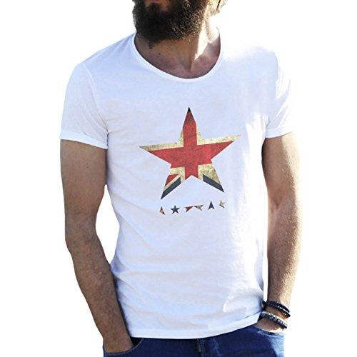 David Bowie Black Star UK Flag Blanca Camiseta para Hombre Large