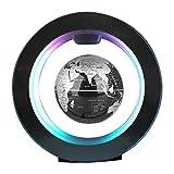Mappemonde magnétique rotative en lévitation avec lumière LED Décoration de bureau ou de maison pour les enfants Idée cadeau 10,16 cm