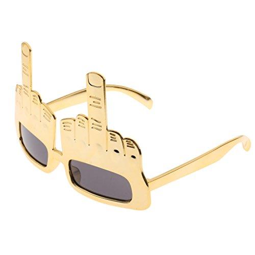 Kostüm Mittelfinger - Blesiya Mittelfinger Brillen Lustige Brille Funbrille Gläser Party Scherzartikel - Gold