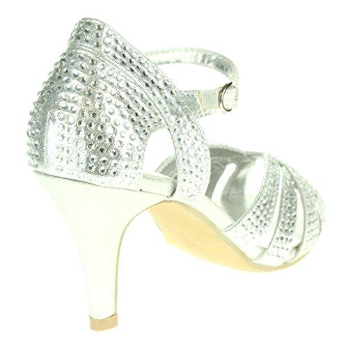 Femmes Dames Diamante Peeptoe Sangle de cheville Talon haut Soir Fête De marié Mariage Bal de promo Sandales chaussure Taille Argent.