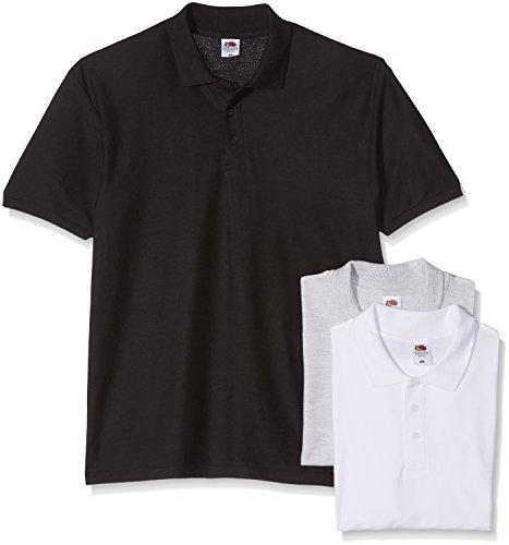 Fruit of the Loom Herren Poloshirt 3er Pack White/Black/Heather