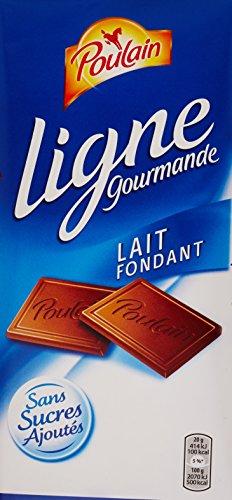 Poulain Tablette de Chocolat au Lait Fondant sans Sucres Ajoutés 100 g - Lot de 6