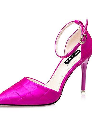 WSS 2016 Chaussures Femme-Décontracté-Noir / Violet / Rouge / Argent-Talon Aiguille-Talons-Talons-Soie black-us5 / eu35 / uk3 / cn34