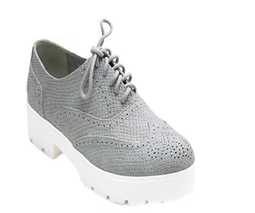 JustGlam - Femmes Chaussures Inglesine dentelle faux serpent plateau de haut talon en caoutchouc Gris