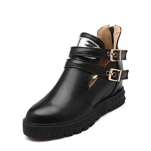 AgooLar Femme Rond à Talon Correct Matière Mélangee Zip Zip Chaussures Légeres Noir