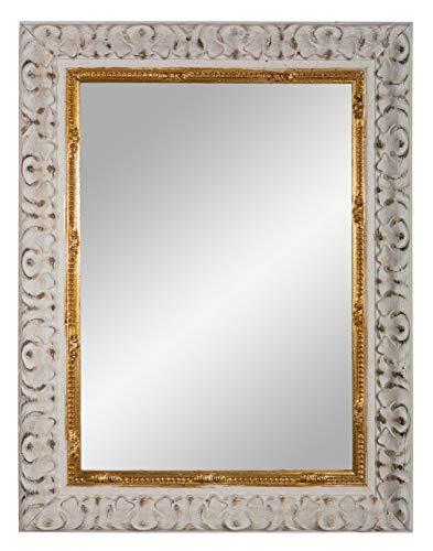 Framo 'N°01' Barock Wandspiegel 30x160 cm mit Echtholz Rahmen (Design: Weiß Gold), Retro antik Vintage Spiegelrahmen inkl. Spiegel und Stabiler Rückwand mit Aufhängern
