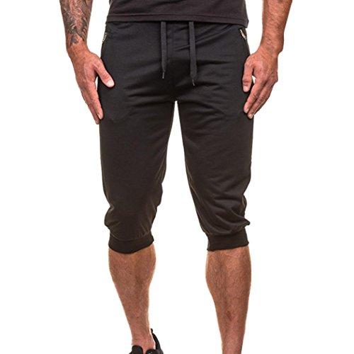 Pantacourt Hommes,Sonnena Été Jogger Dance Couleur Pure Sportwear Harnais Baggy Casual Short Travailler Slim Fit Respirant Polyester Pantalon M-XXL