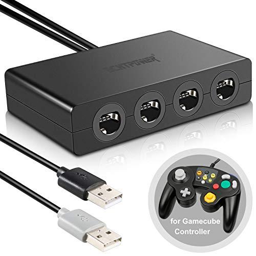 ECHTPower Gamecube Controller Adapter, Wii U Gamecube Controller Adapter, 4 Ports USB NGC Controller Gamepad Konverter Zubehör für Nintendo Switch/Wii U/PC Super Smas Bros(Kein Treiber Erforderlich)