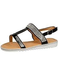 5a2913b16a3 Feet First Fashion Natalie Girls Kids Flats Open Toe T Bar Diamante Sandals  Infants Glitter Shoes