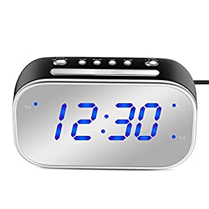 "MoKo Mirror Alarm Clock, Large 1.4"" LED Display Table Desk Lamp Makeup Mirror Travel Clock for Office Bedroom Bathroom, Dual Alarm with Snooze, Dimmer Control, Backup Battery (Not Included) - Black"