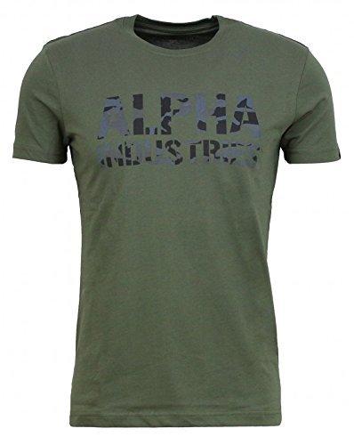 Alpha Industries Shirt Camo Print T/Camouflage 156513 142 Dark Olive Oliv L