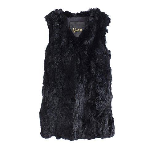 Elegante Chaleco de piel auténtica natal para mujer, de piel de conejo de neat to. disponible en negro, marrón, beige, Darkred (negro, L/XL)