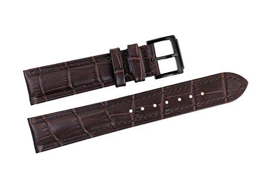 18mm dunkelbraun Uhrenarmbänder / Bands Ersatz Luxus italienischen Leder handgefertigt für High-End-Uhren (Gürtel Leder-kies-schnalle)