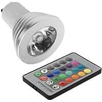 Lampadina RGB LED Changeable 16colori 5W GU10+ Telecomando 24Tasti per decorazione della casa LD236
