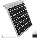Wireless Number Pad, Vive Comb 28-Key External Numeric Keypad Slim Numpad Full Size With Shortcuts For Laptop, Desktop, PC, Notebook-Black And Silver