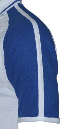 Bruntwood Aufgeld Sportlich Kontrast Polo Hemd - Premium Sport Polo Shirt - Herren & Damen - 220GSM - Baumwolle/Polyester Weiß/Königsblau