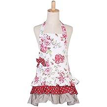 Peyviva 100% algodón flor floral Sweet Girl Stlye Kid Niño Rosa Delantal con con volantes