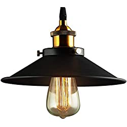 Lámpara Vintage Colgante Luz Industrial Lámpara de Techo Retro Casquillo E27, Moderna Lámpara de Techo para Loft Restaurante Coffee Bar Color Negro ø26cm