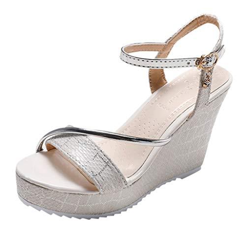 Mitlfuny Damen Sommer Sandalen Bohemian Flach Sandaletten Sommer Strand Schuhe,Frauen-Plattform-Keil-wasserdichte Sandelholz-Absatz-Schuh-Rutschfeste Sandelholz-Schuhe - Für Sandalen Frauen-plattform Qupid