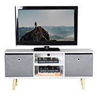 White TV Unit, ASUUNY Modern TV Cabinet, Cube TV Unit, TV Stand Storage Console with 2 Shelves and 2 Drawers for Living Room, Bedroom