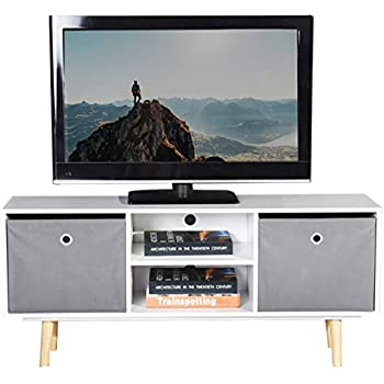 differently ec7ca 178b8 VASAGLE TV Cabinet, TV Stand with Shelf and Hinged Doors ...