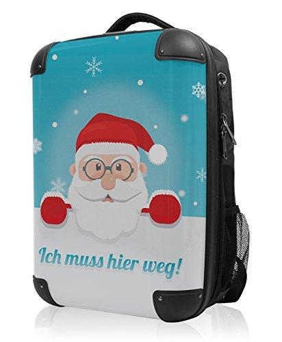 HAUPTSTADTKOFFER - STYLE Laptoprucksack Rucksack Business Laptop Rucksack Arbeits Daypack, individuell gestalten, Geschenkidee, Design: Santa Claus Blau -
