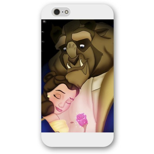 Customized White Frosted Disney Cartoon Movie Beauty and The Beast Case Cover For Ipod Touch 4 Case, Only fit Iphone 5/5S