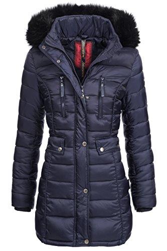 Winterjacke | Wintermantel | Stepp-Jacke für Damen Modell Ilyana von Navahoo - eleganter Stepp-Mantel im schlanken Parka-Stil mit Fellkapuze aus Kunstpelz ideal für den Winter in Blau, Größe XXL