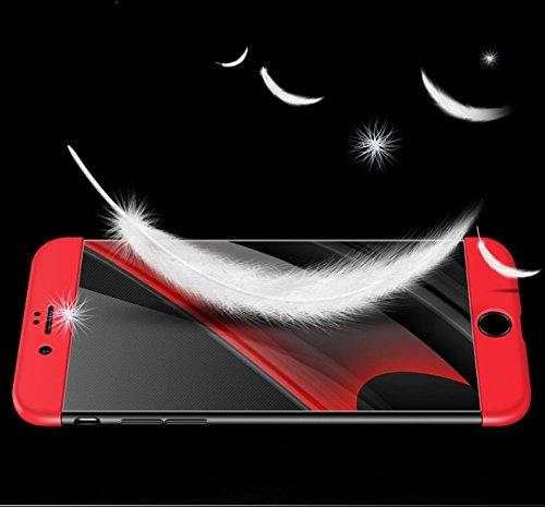Qissy®3 in 1 Ultra Dünner PC Harte Case 360 Grad Schutzharte iPhone 6 Plus 6s Plus Fall Premium mattierte Schutzhülle (iPhone 6 Plus 6s Plus, Schwarz + rot) Red