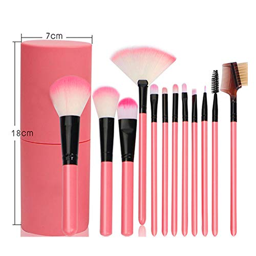 Makeup Brush Set with Case Professional Cosmetic Brushes for Powder Foundation, Eyeshadow, Eyeliner, Lip Pink 12Pcs