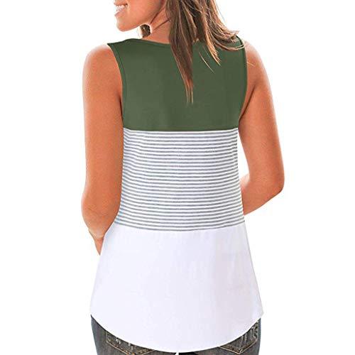 Qingsiy Camisetas Verano Sin Mangas,Tallas Grandes Camisa de Rayas de Bloque de Color de Verano Blusa Informal Blusas Chaleco Tops para Playa Fiesta (Verde del ejército,XXL)