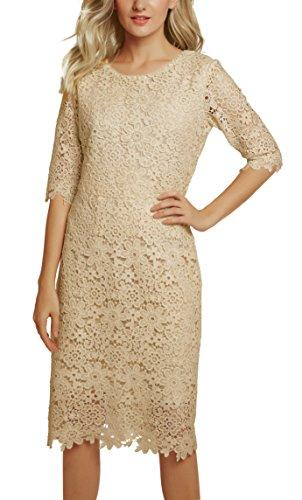 Urban GoCo Damen Elegantes Spitzen Kleid Etuikleid Abendkleid