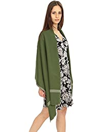 Écharpe pashmina 'Soho' tissée à la main en laine mérinos, Vert