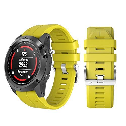 BZLine® Armband für Fenix 5X Plus, Schnelle Veröffentlichung Passgenau Silikon Sportarmband Uhr Band Strap Ersatzarmband Uhrenarmband für Garmin Fenix 5X (Gelb)
