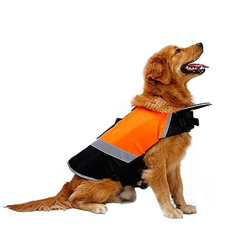 Doglemi Wasserdichte Hund Schwimmweste Welpenweste Einstellbare Lebensretter Erhalter Atmungsaktive Hund Kleidung für Mittelgroße Hunde Winter Sommer Orange M