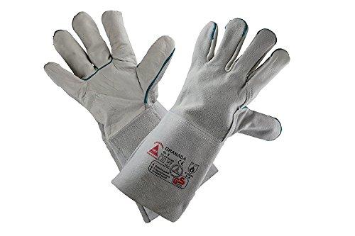 GRANADA-long - Profi Schweißerhandschuhe Arbeits-handschuhe Sicherheitshandschuhe für Schweisser, auch als Grillhandschuh - Rindnarbenleder TÜV GS - grau - Größe: 9