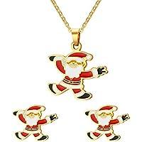 Vnox Acciaio inossidabile Buon regalo di Natale personalizzato Babbo Natale insiemi dei monili,collana e orecchini - Nativo Americano Del Turchese Orecchini
