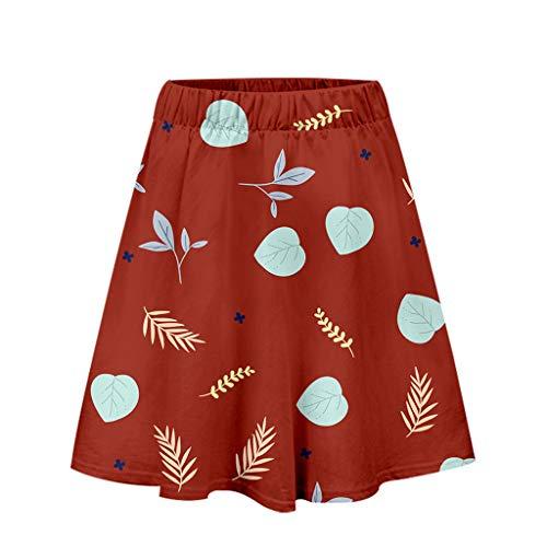 Xmiral Röcke Damen Elastische Taille Feder Blätter Gedruckte Rock A-Linien Mini Röck Basic Solide Dehnbar Party Kleid Glocken Rock für Reisen und Freizeit(Rot,M) -