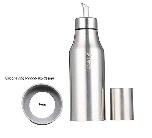 Tenta Kitchen - Vinagrera / aceitera de acero inoxidable / dispensador de condimentos líquidos, acero inoxidable, Plateado, 750 ml,anillo de silicona antideslizante