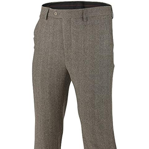 Patrimonio da uomo marrone grigio Tweed controlli Slim Fit Pantaloni