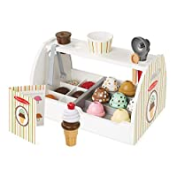 Melissa & Doug Wooden Scoop and Serve Ice Cream Counter (Play Food and Accessories, 28 Pieces, Realistic Scooper, 34.544 cm H x 21.844 cm W x 19.558 cm L)