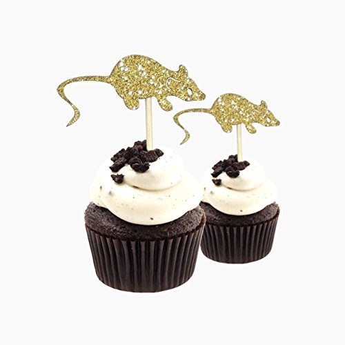 Cupcake-Topper mit Ratten, Halloween-Motiv, 12 Stück pro Packung