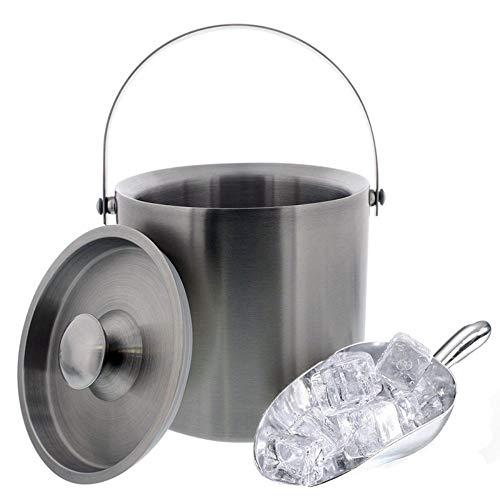 GOODJIA 3 Liter Eiskübel-Barware-Kit aus Edelstahl - Doppelwandig isoliert mit Deckel, Eislöffel und Zangen-Set -