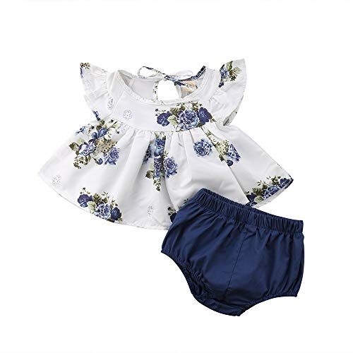 Sanahy Baby Mädchen Floral T-Shirt Kleid Tops Shorts Hosen Mode Kleidung Outfit 2tlg Set