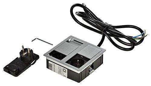 Kopp 939630013 VersaHIT Dual Einbausteckdose, 16A, IP54, 3400 W, Alu - Gehäuse In Edelstahl, Möbel