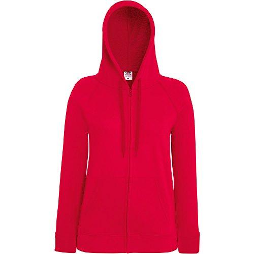 Fruit Of The Loom Ladies Lady Fit Full Zip Hooded Sweatshirt red